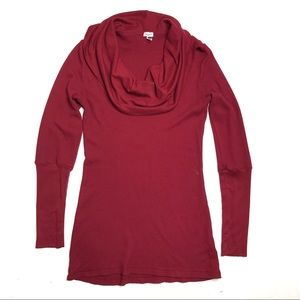 Splendid Cowl Neck Thermal Waffle Knit Top
